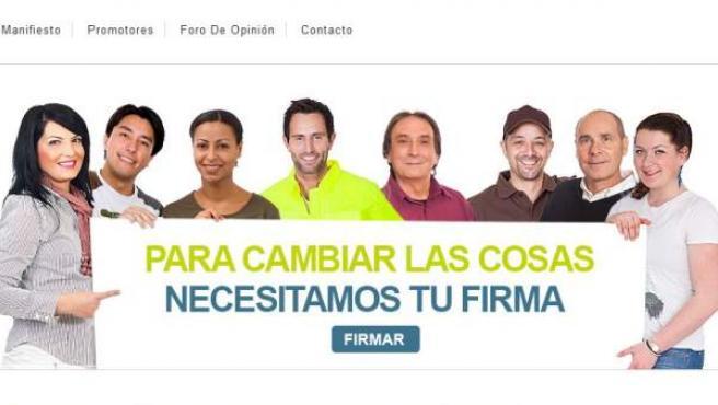 Imagen de la web donde se aloja el manifiesto.