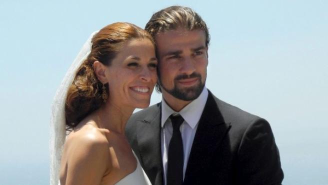 Raquel Sánchez Silva y mario Biondo en la celebración de su boda en 2012.