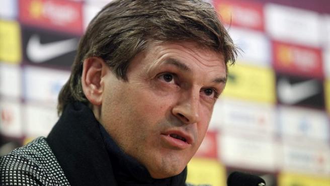 El entrenador del FC Barcelona, Tito Vilanova, en rueda de prensa.