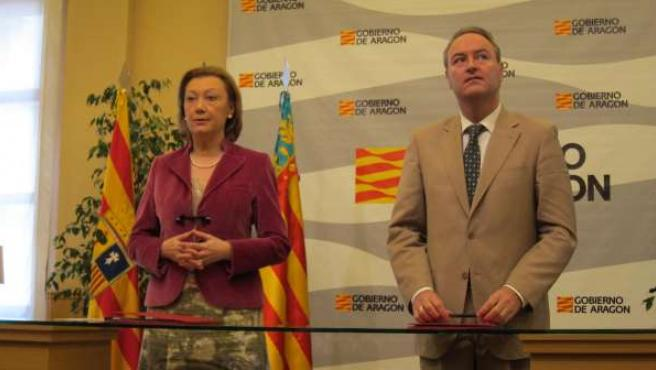 Luisa Fernanda Rudi y Alberto Fabra, en Zaragoza