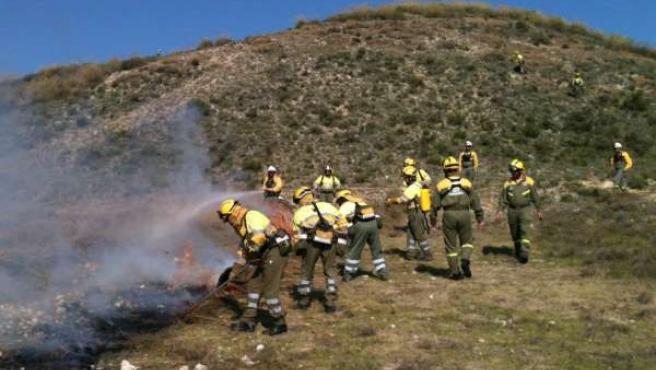 Efectivos en la lucha contra el fuego participan en ejercicio práctico