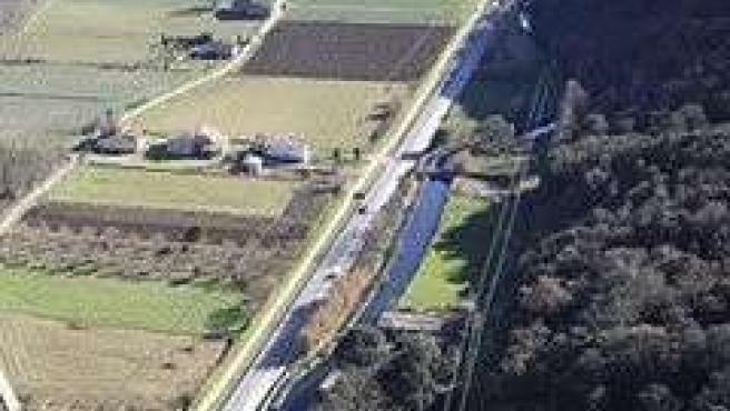 Imagen aérea de la carretera N-141e