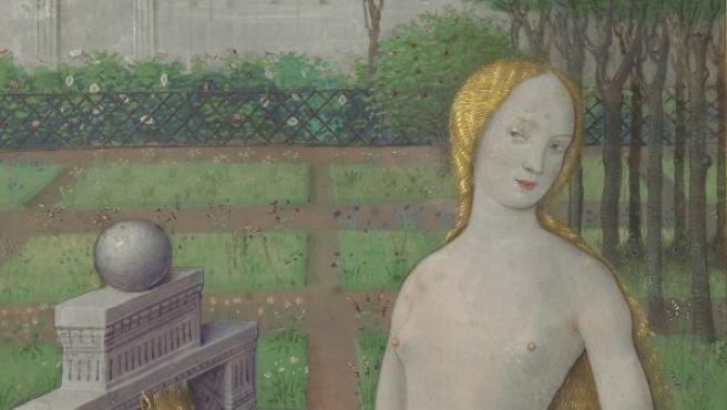 Detalle de la ilustración en tempera y oro de Betsabé bañándose ante David, pintada por el francés Jean Bourdichon