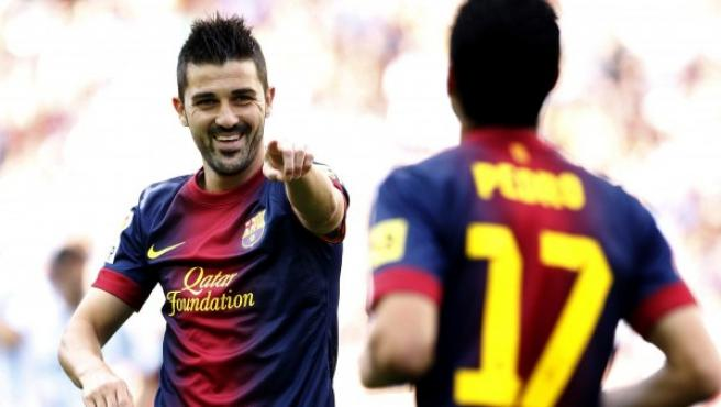 Villa celebra un gol.