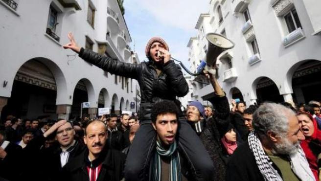 Imagen de una manifestación en Rabat, Marruecos.