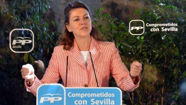 Cospedal este domingo durante su intervención en Sevilla