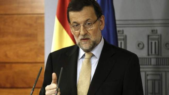 Mariano Rajoy, durante la rueda de prensa que ha ofrecido en el Palacio de la Moncloa.