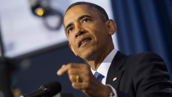El presidente de Estados Unidos, Barack Obama, habla durante un discurso sobre política antiterrorista en la Universidad de Defensa Nacional en Washington DC.