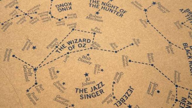 Detalle del mapa estelar diseñado por el estudio Dorothy y dedicado a la Edad de Oro de Hollywood