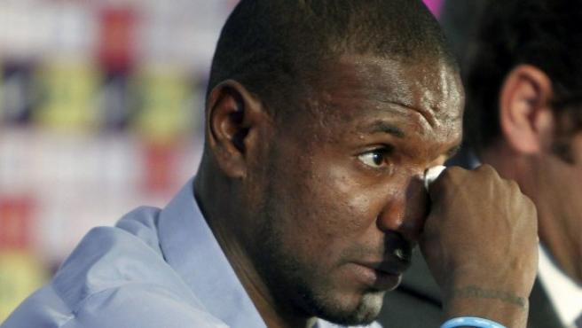 Abidal, en su despedida del Barça.