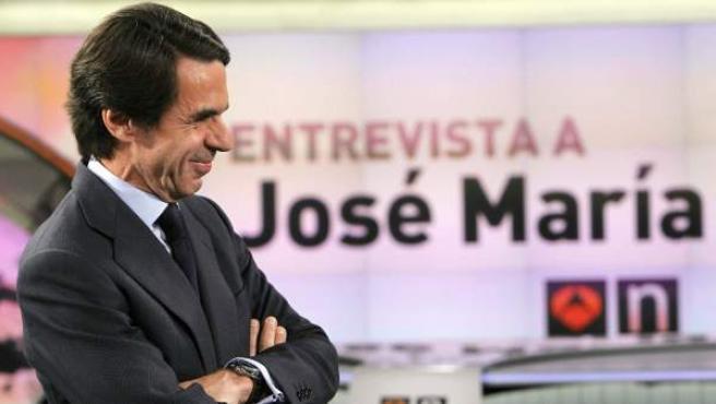 El expresidente del Gobierno, José María Aznar, en un momento de la entrevista concedida a Antena 3.