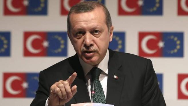 El primer ministro turco, Recep Tayyip Erdogan, da un discurso en el Ministerio para Asuntos de la UE en Estambul.