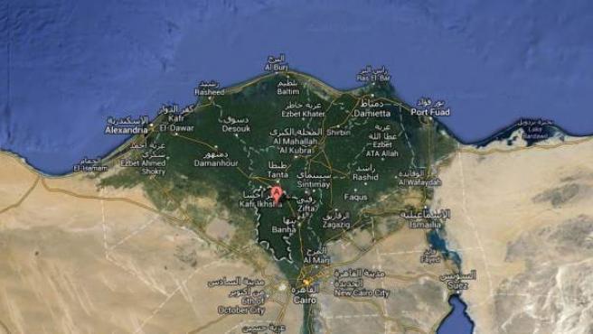 Captura de Google Maps de Menufia, en Egipto.
