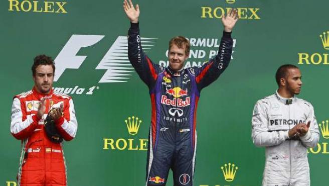 Fernando Alonso, Sebastian Vettel y Lewis Hamilton, el podio del GP de Canadá.