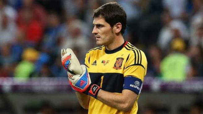 El capitán de la selección, Iker Casillas, durante la Eurocopa de Polonia y Ucrania.