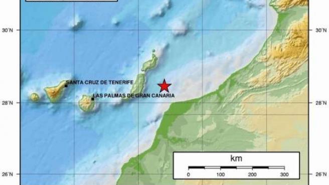 Mapa donde se aprecia uno de los dos terremotos de este martes