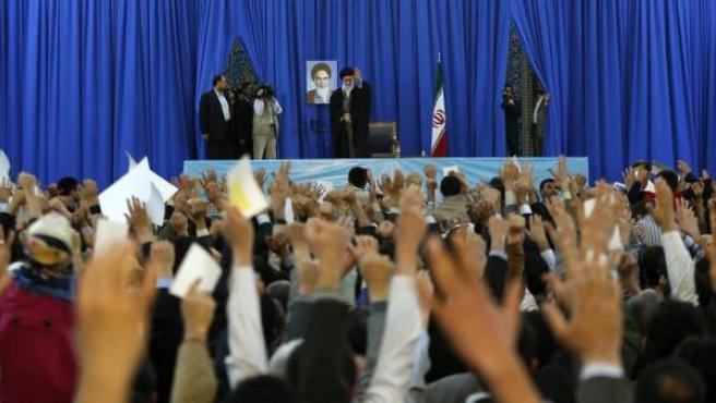 El ayatolá Alí Jameneí, durante su discurso de Año Nuevo Persa.