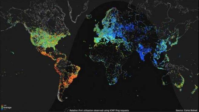 Mapa del tráfico en Internet a nivel mundial.