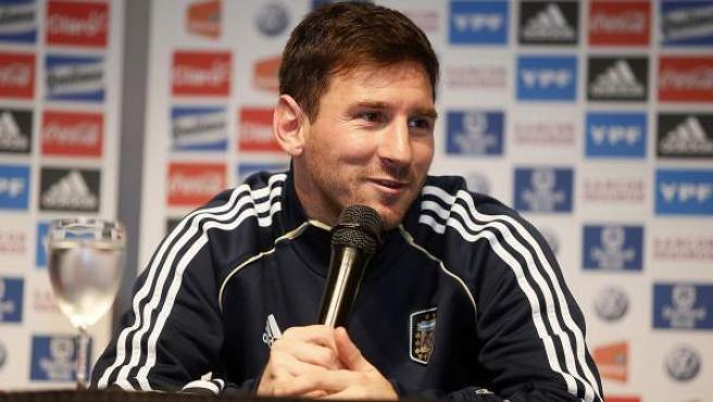 El delantero argentino Leo Messi durante una rueda de prensa.