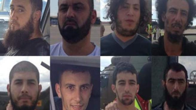 Imágenes de los detenidos en Ceuta por la Policía Nacional y la Guardia Civil.