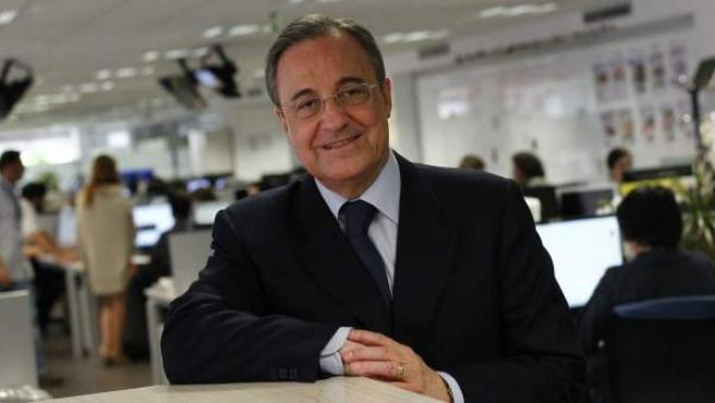 Florentino Pérez, presidente del Real Madrid, antes de comenzar la entrevista en '20 Minutos'.