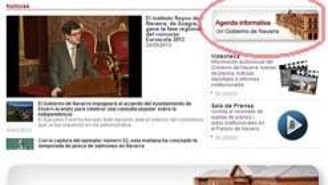 Captura de pantalla del acceso a la agenda de noticias del Gobierno de Navarra