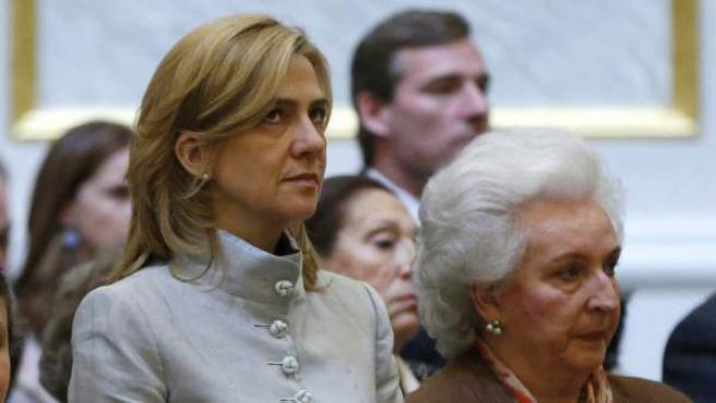 La Infanta Cristina, en la misa por Don Juan de Borbón. Fue su primer acto oficial desde el año 2011.