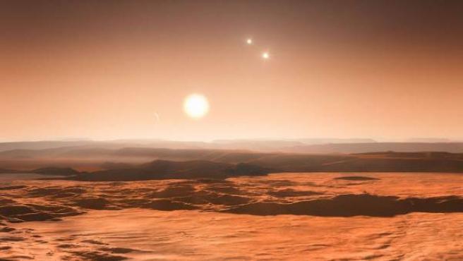 El sistema de la estrella Gliese 667C (en la imagen) se encuentra bastante cerca de la Tierra, en la vecindad solar.