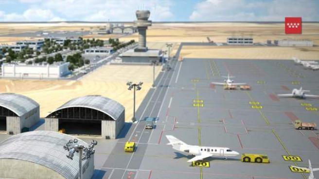 Futura terminal, torre y zona de aviones privados del Aeródromo del Suroeste.