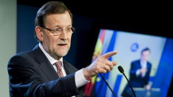 El presidente del Gobierno español, Mariano Rajoy, durante la rueda de prensa que ha ofrecido para explicar las conclusiones de la cumbre de la UE.