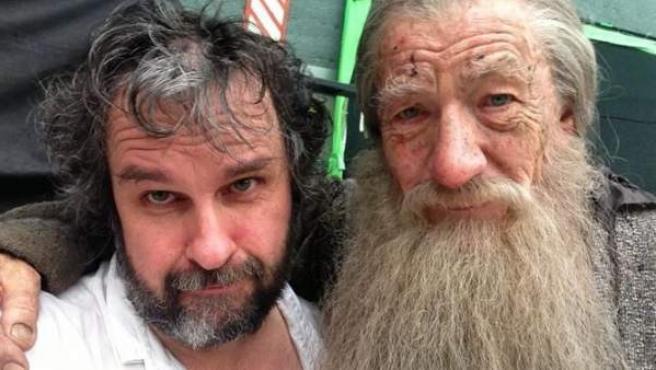 Fotografía que ha subido Peter Jackson tras rodar la última escena de Gandalf.
