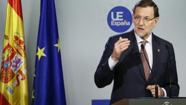 Rajoy, en la rueda de prensa tras finalizar el Consejo Europeo de Bruselas.