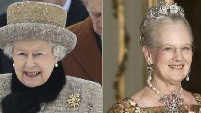 Combo de imágenes con los cuatro monarcas europeos que más tiempo llevan reinando. De izquierda a derecha y de arriba a abajo, la reina Isabel II de Inglaterra, la reina Margarita II de Dinamarca, el rey Carlos XVI Gustavo de Suecia y el rey Juan Carlos I de España.