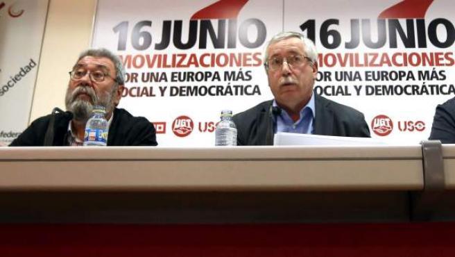 Los líderes de UGT y CC OO, Cándido Méndez e Ignacio Fernández Toxo.