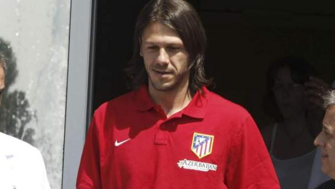 Martín Demichelis tras firmar con el Atlético de Madrid.