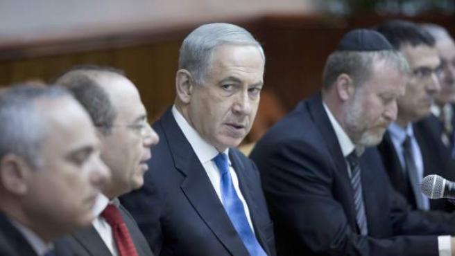 El primer ministro israelí, Benjamin Netanyahu, reunido con su gabinete.