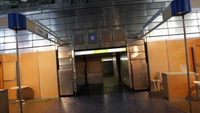 Vista de uno de los pasillos de salida de la pista central del Madrid Arena.