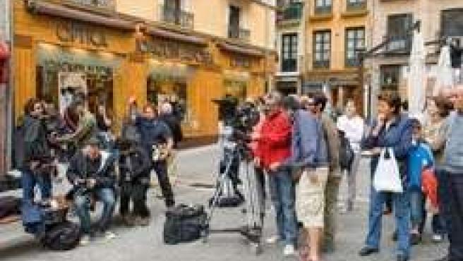 Detalle de filmación junto al Ayuntamiento.