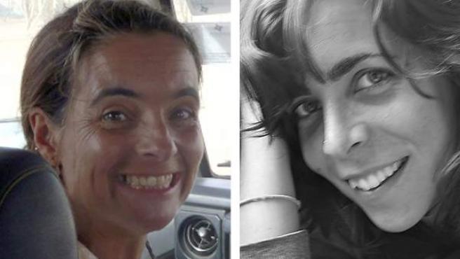 Fotografías facilitadas por Médicos Sin Fronteras (MSF) el 14/10/2011 de la madrileña Blanca Thiebaut (d), de 30 años, y la catalana Montserrat Serra, de 40.