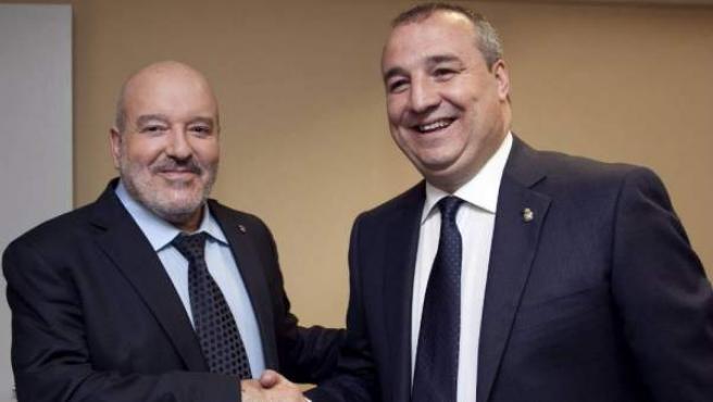 Miguel Ángel Ramírez (derecha), presidente del Grupo Ralons y de la Unión Deportiva Las Palmas.