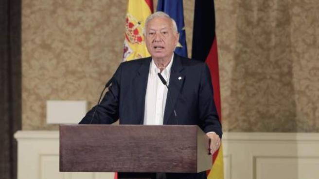 El ministro de Asuntos Exteriores de España, José Manuel García-Margallo, interviene durante la inauguración de la reunión de ministros de Exteriores de la Unión Europea en Palma de Mallorca.