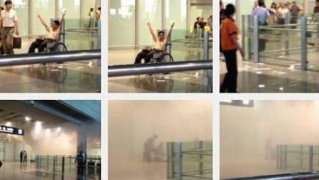 Imágenes del hombre que ha detonado un explosivo casero en la Terminal 3 del aeropuerto de Pekín.