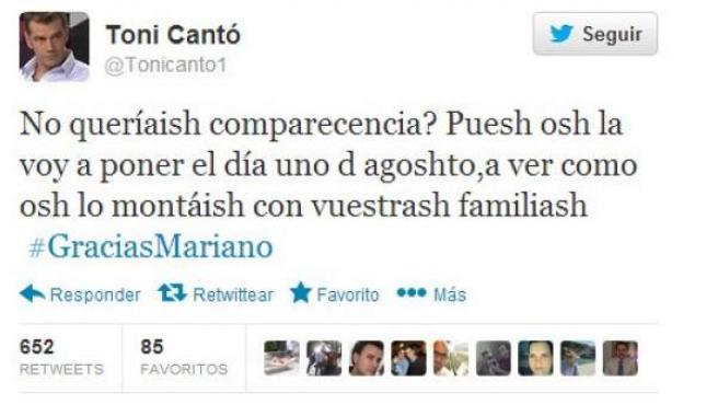 Tuit de Toni Cantó burlándose del seseo de Mariano Rajoy.