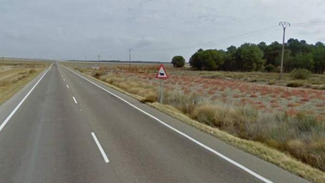 Imagen de la carretera CL-602 en las cercanías de Aguasal, donde se ha producido el accidente.
