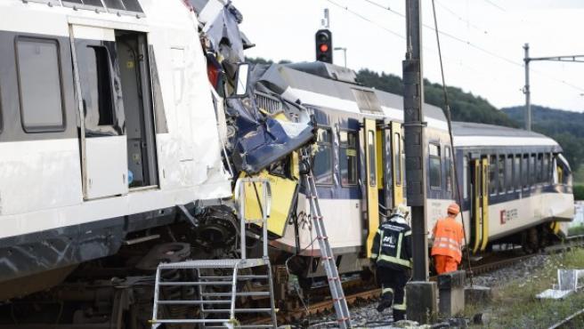 Colisión entre dos trenes en Suiza.