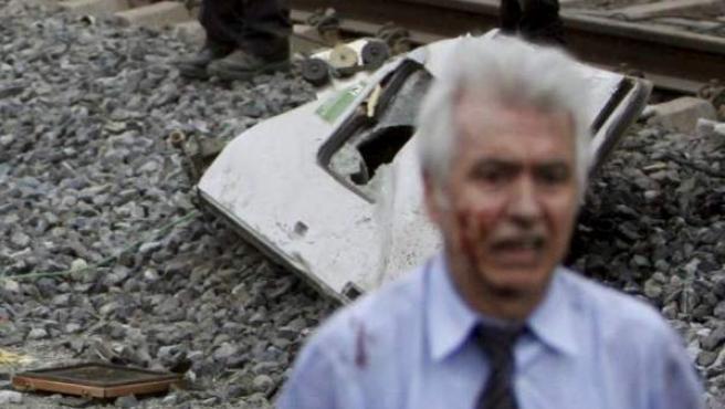 Antonio Martín Marugán, interventor del tren Alvia, poco después del accidente.