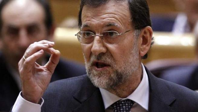 El presidente del Gobierno, Mariano Rajoy, en su estreno en el Senado.