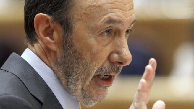 Alfredo Pérez Rubalcaba, en el debate sobre Bárcenas en el Senado.