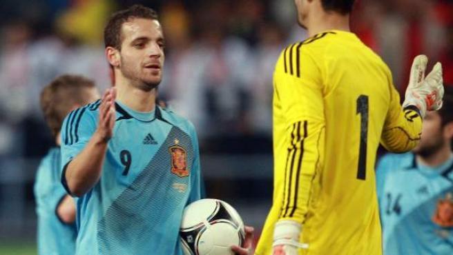 El delantero de la selección española de fútbol, Roberto Soldado.