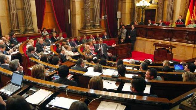 El presidente de la Generalitat, Artur Mas, interviene en el Pleno del Parlamento de Cataluña.